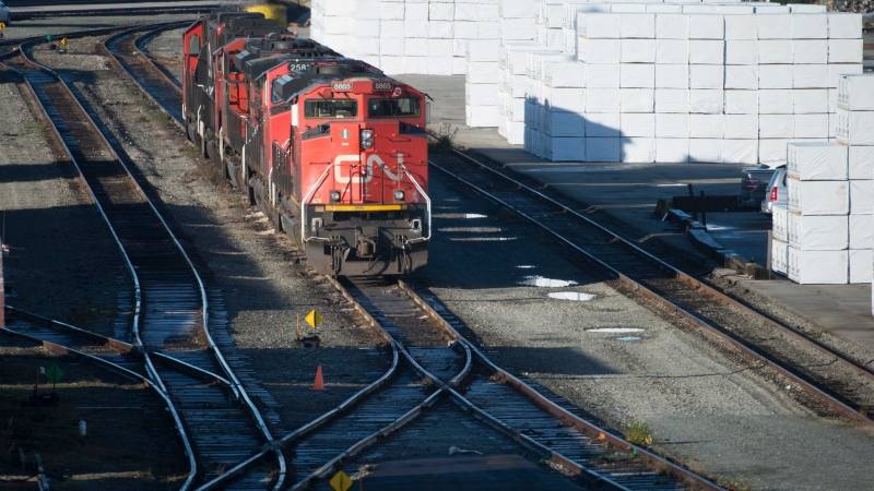 A quiet Mclean Rail Yard is pictured in North Vancouver., Wednesday, November, 20, 2019 as CN rail workers strike outside the gates. THE CANADIAN PRESS/Jonathan Hayward
