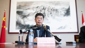 Ambassador of the People's Republic of China to Canada Cong Peiwu participates in a roundtable interview with journalists at the Embassy of China in Ottawa, on Friday, Nov. 22, 2019. THE CANADIAN PRESS/Justin Tang