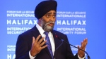 Harjit Sajjan, Minister of National Defence, speaks at the opening news briefing before the start of the Halifax International Security Forum in Halifax on Friday November 22, 2019. THE CANADIAN PRESS/Tim Krochak