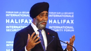 Harjit Singh Sajjan, Minister of National Defence, speaks at the opening news briefing before the start of the Halifax International Security Forum in Halifax on Friday November 22, 2019. THE CANADIAN PRESS/Tim Krochak