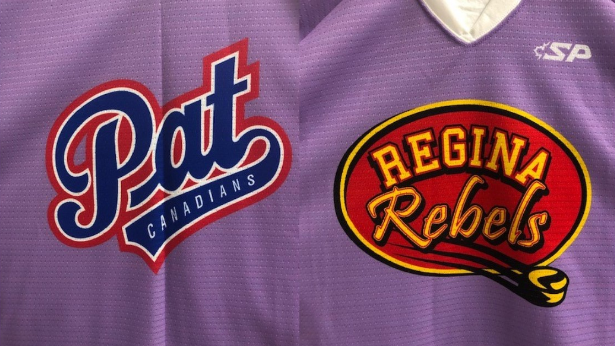 Special lavender jerseys to be worn by the Regina Pat Canadians (L) and Regina Rebels (R) on Lavender Game Day, happening Nov. 23, 2019. (Hockey Regina)
