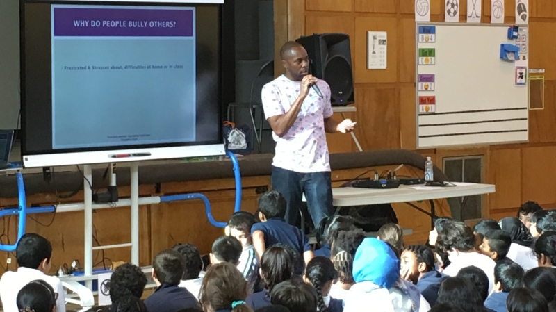 Malik Shaheed, better known as DJ Malik, is teaching kids about spotting and stopping bullying (image: Ken Dow /CTV Montreal)