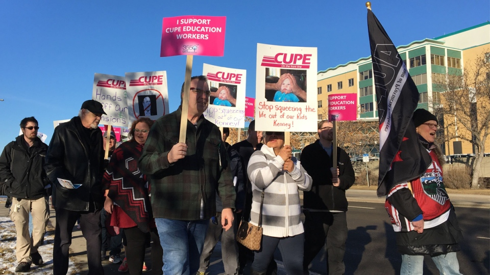 Edmonton Public Schools employees protested the UCP education cuts on Friday, Nov. 22, 2019. (Jay Rosove/CTV News Edmonton)