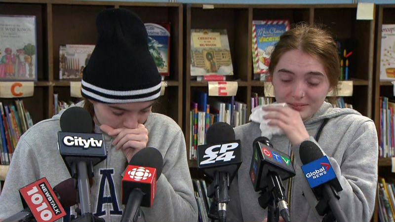 Julia (left) and Daniela Viana (right) are seen speaking to reporters on Nov. 22, 2019. (CTV News Toronto)