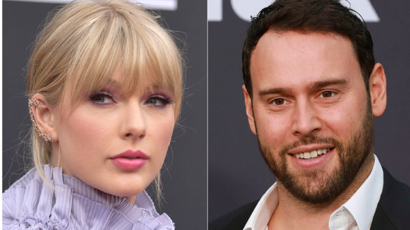 This combination photo shows Taylor Swift at the Billboard Music Awards at the MGM Grand Garden Arena in Las Vegas on May 1, 2019, left, and Scooter Braun at the 2019 MOCA benefit in Los Angeles on May 18, 2019.  (Photos by Richard Shotwell, left, and Mark Von Holden/Invision/AP)