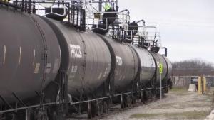 Propane tanks sit on railway tracks at a terminal in St. Thomas, Ont. on Friday, Nov. 22, 2019. (Sean Irvine / CTV London)