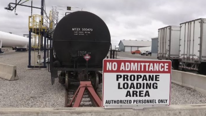 Propane tanks sit on railway tracks at a terminal in St. Thomas, Ont. on Friday, Nov. 22, 2019. (Sean Irvine / CTV London)