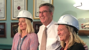 Mayor Jim Watson welcomes two of Ottawa's newest members of the Trudeau cabinet.