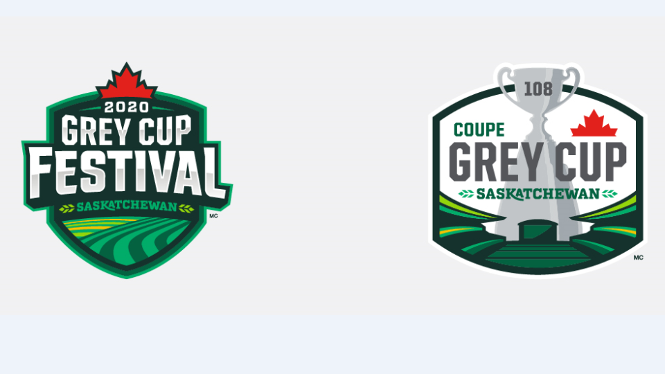 The logos for the 2020 Grey Cup Festival and 108th Grey Cup. (CFL/Saskatchewan Roughriders)