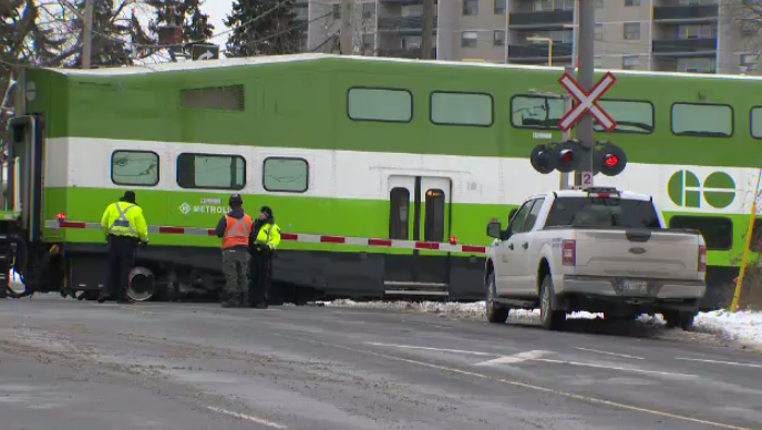 go train kitchener lancaster woman child struck