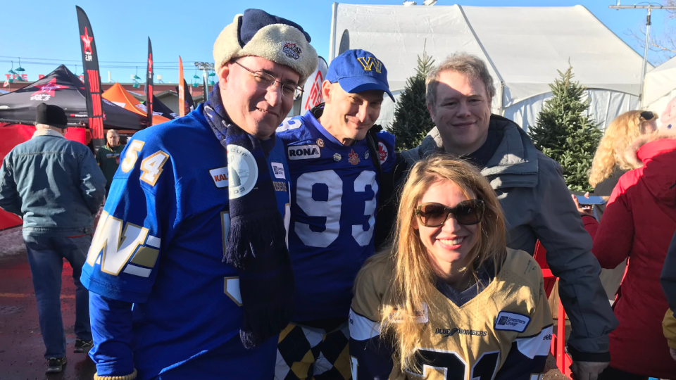Daisy and Steve from Silicon Valley, California (on right) are experiencing their 1st ever CFL game this week. Jay and Martin, lifelong friends, are at their 8th GreyCup together. (Source: Pat McKay/CTV News Winnipeg)