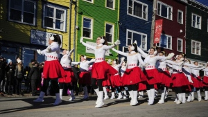 Performers are seen in this handout photo from the 2018 Christmas parade in St. John's, N.L. (THE CANADIAN PRESS/HO, Downtown St. John's Business Commission)