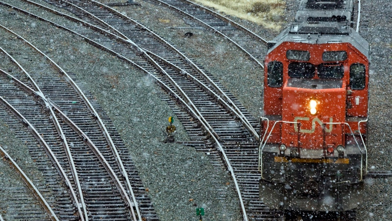 A CN Rail locomotive is moved onto a siding at the marine terminal in Halifax on Tuesday Dec. 1, 2009. THE CANADIAN PRESS/Andrew Vaughan