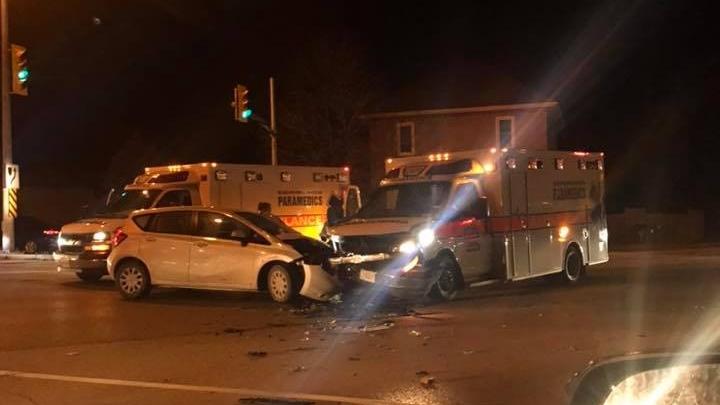 An ambulance and car after a crash