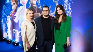 "From left, actors Kristen Bell, Josh Gad and Idina Menzel pose during the ""Frozen 2"" photo call on Monday, Nov. 4, 2019, in Toronto. With swirling autumn maple leaves and icy landscapes, the Canadian animators on ""Frozen 2"" were immersed in a familiar world while working on the highly anticipated Disney sequel. THE CANADIAN PRESS/AP, Arthur Mola/Invision"