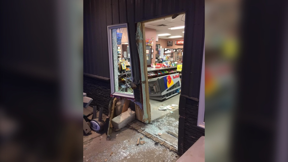 The business owner says the building suffered structural damage when thieves smashed through the front door to pull out the ATM.