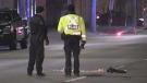 A pedestrian was struck on Hamilton Road in London, Ont. on Saturday, Nov. 23, 2019. (Taylor Choma / CTV London)
