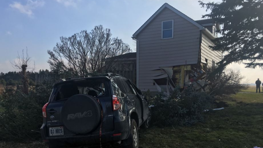 An SUV slammed into a house on Colonel Talbot Road in London Ont. on November 24. 2019. (Brent Lale/CTV)