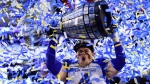 Winnipeg Blue Bombers' Adam Bighill celebrates winning the 107th Grey Cup against the Hamilton Tiger Cats in Calgary, Alta., Sunday, November 24, 2019. THE CANADIAN PRESS/Frank Gunn