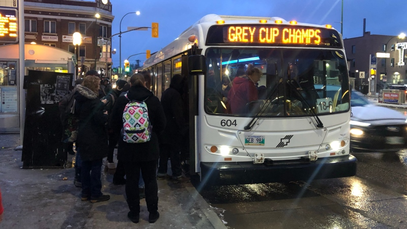 Signs of celebration are visible around Winnipeg, like this bus Monday morning. (Alex Brown/CTV News.)