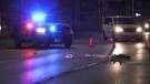 Police block the scene of a hit-and-run crash on Hamilton Road in London, Ont. on Saturday, Nov. 23, 2019. (Taylor Choma / CTV London)
