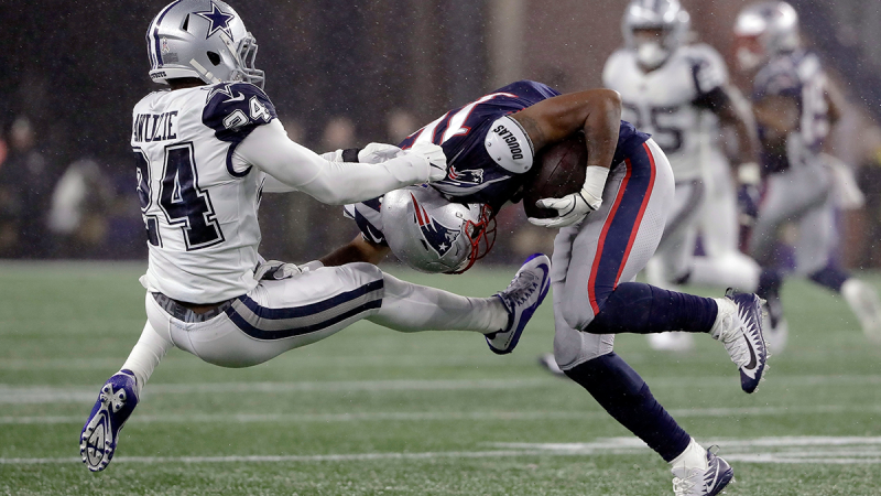 Dallas Cowboys cornerback Chidobe Awuzie, left, tries to tackle New England Patriots wide receiver Jakobi Meyers in the first half of an NFL football game, Sunday, Nov. 24, 2019, in Foxborough, Mass. (AP Photo/Steven Senne)
