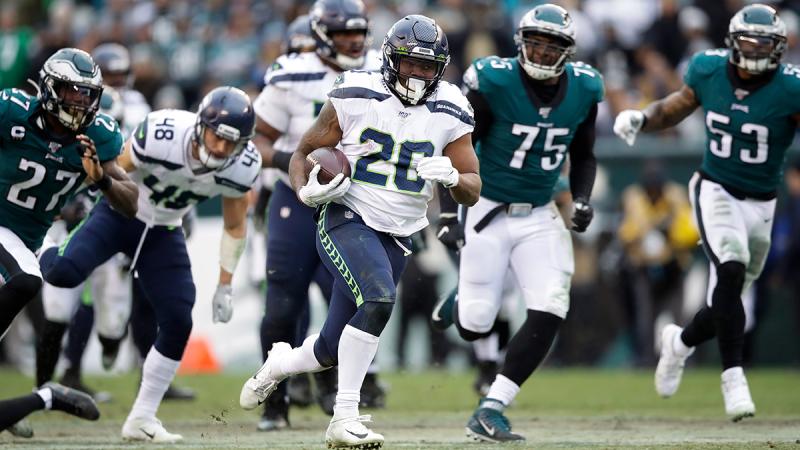 Seattle Seahawks' Rashaad Penny (20) runs for a touchdown during the second half of an NFL football game against the Philadelphia Eagles, Sunday, Nov. 24, 2019, in Philadelphia. (AP  / Matt Rourke)