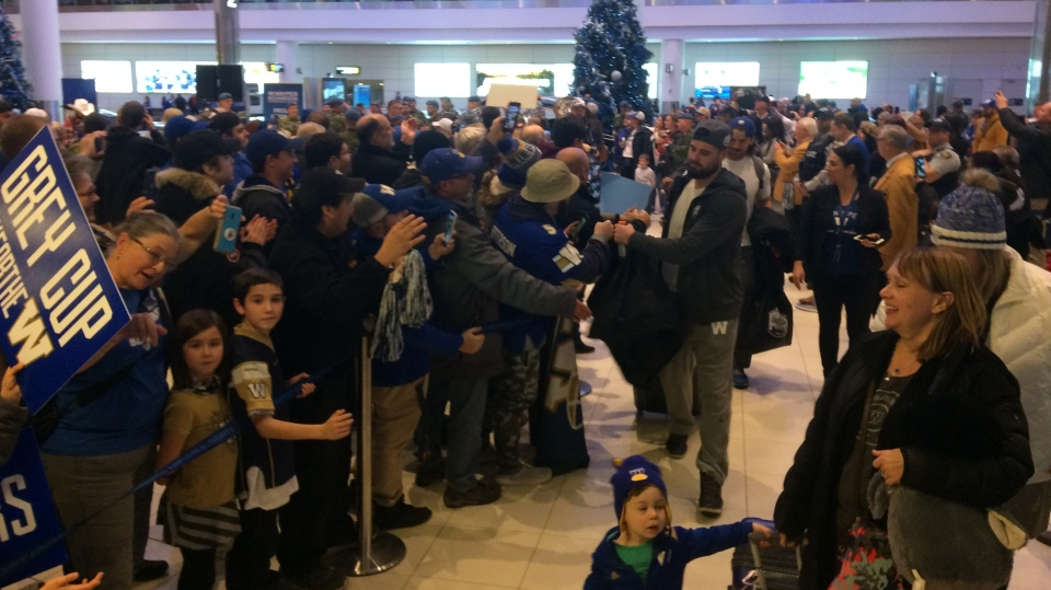 Bombers and fans at airport