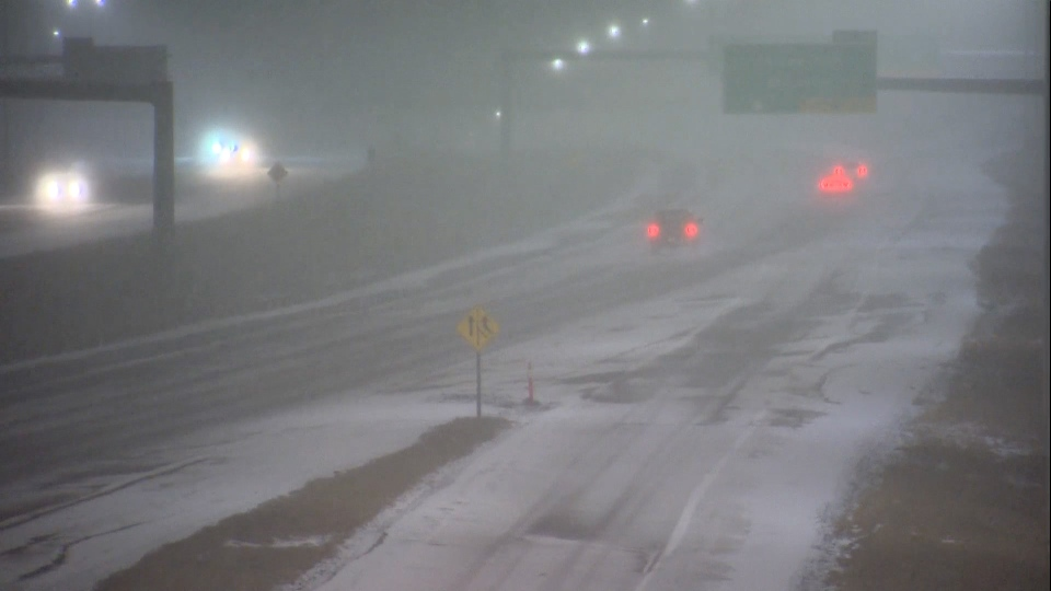 Snowy conditions are making the morning commute a slippery one for Calgary drivers.