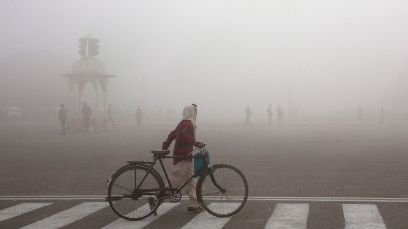 FILE - This Jan. 18, 2019 file photo shows a cyclist amidst morning smog in New Delhi, India. (AP Photo/Manish Swarup, File)