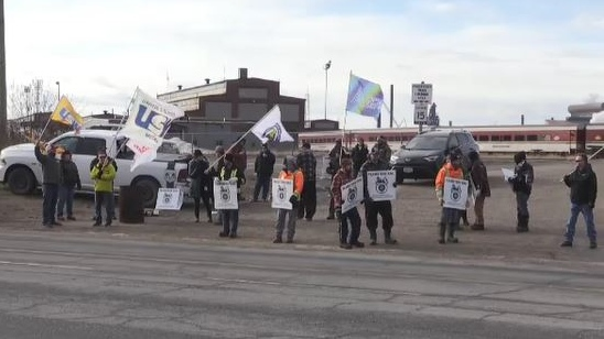 CN Rail picket line in Sault Ste. Marie on Monday
