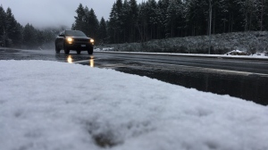 Roadways with elevations above 200 metres should prepare to see accumulating snow, including along the Port Alberni summit and the Malahat. (CTV News)