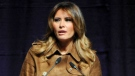 First lady Melania Trump speaks at the B'More Youth Summit, Tuesday, Nov. 26, 2019, at UMBC in Baltimore. The first lady urged students to avoid misusing drugs, saying that it would make it harder for them to achieve. (Barbara Haddock Taylor/The Baltimore Sun via AP)