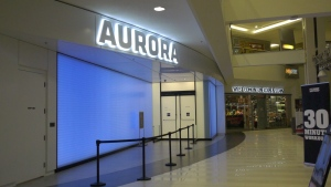 Alberta-based Aurora Cannabis is opening the largest cannabis shop in the country: A mammoth 11,000-square-foot storefront in West Edmonton Mall. Nov. 26, 2019. (CTV News Edmonton)