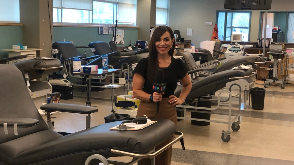 CTV's Maralee Caruso at the Canadian Blood Services headquarters in Winnipeg. (Source: Alex Brown/ CTV News Winnipeg)