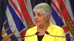 Finance Minister Carole James will speak about the economy from Victoria on Tuesday. (File photo)