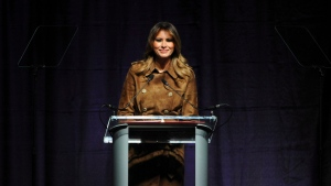 First lady Melania Trump, speaks at the B'More Youth Summit on Opioid Awareness, Tuesday, Nov. 26, 2019, in Catonsville, Md. (Barbara Haddock Taylor/The Baltimore Sun via AP)