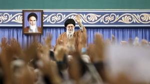 Iran's Supreme Leader Ayatollah Ali Khamenei waves to members of the Revolutionary Guard's all-volunteer Basij force in a meeting in Tehran, Iran, on Nov. 27, 2019. (Office of the Iranian Supreme Leader via AP)
