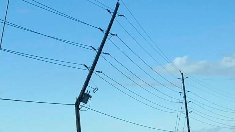 Hydro One says a pole snapped in Essex. (Courtesy Hydro One)
