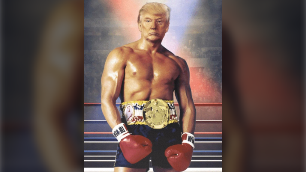 Trump tweets image of his head on Rocky Balboa's shirtless body