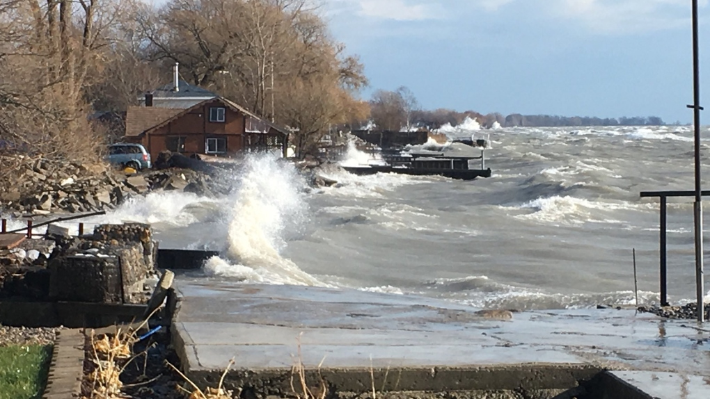 Waves lash Lake Erie shoreline in Chatham-Kent