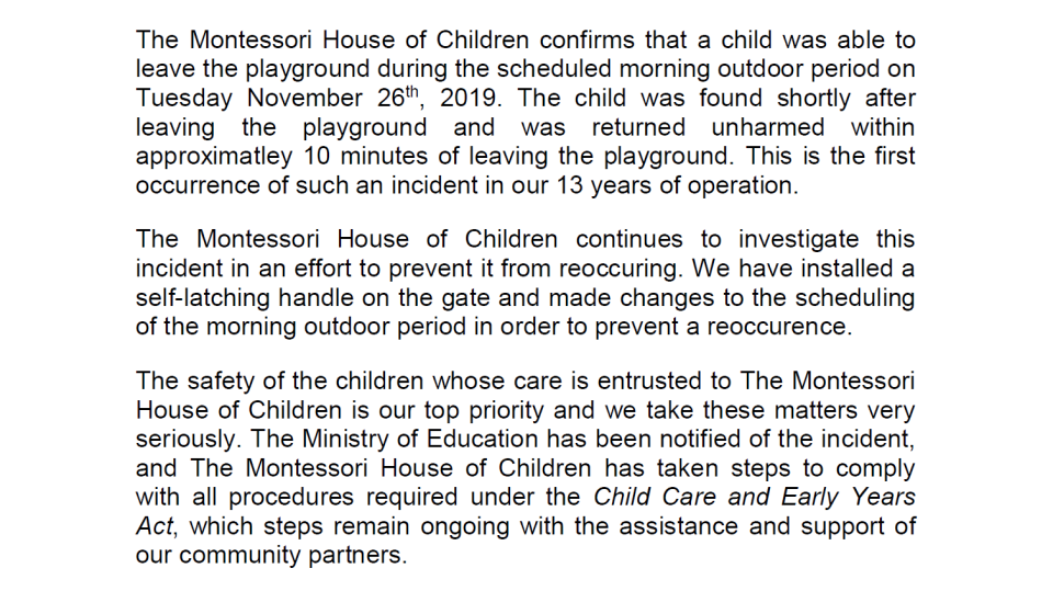 A statement from the Montessori House of Children