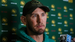 Edmonton Eskimos head coach Jason Maas speaks to media after being knocked out of the Eastern final on Sunday, in Edmonton, Alta., on Monday November 18, 2019. THE CANADIAN PRESS/Jason Franson.