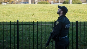 """The mysterious """"slow-moving blob"""" detected in the skies over Washington prompted a frantic response from security officials on the ground as they raced against the clock to assess the potential threat. (Evan Vucci/AP)"""