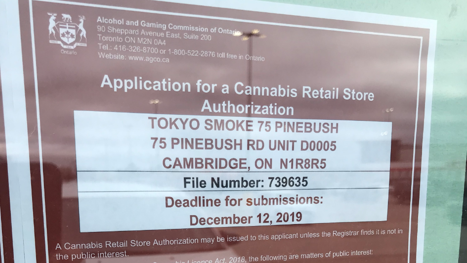 This 15-day cannabis retail store application notice is seen at a unit on Pinebush Road in Cambridge on Nov. 28, 2019. (Dan Lauckner / CTV Kitchener)