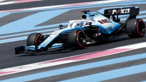 Williams driver Nicholas Latifi of Canada steers his car during the first free practice at the Paul Ricard racetrack in Le Castellet, southern France, Friday, June 21, 2019. (AP Photo/Claude Paris)