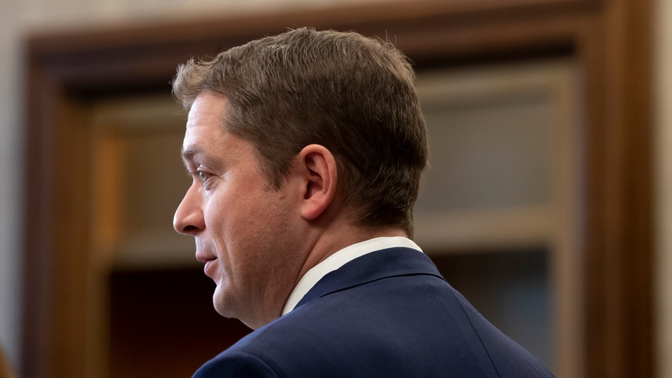 Leader of the Opposition Andrew Scheer speaks with the media in the Foyer of the House of Commons in West Block, Thursday November 28, 2019 in Ottawa. THE CANADIAN PRESS/Adrian Wyld