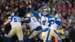 Winnipeg Blue Bombers quarterback Zach Collaros throws the ball during first half football action in the 107th Grey Cup against the Hamilton Tiger-Cats in Calgary, Alta., Sunday, November 24, 2019. THE CANADIAN PRESS/Nathan Denette