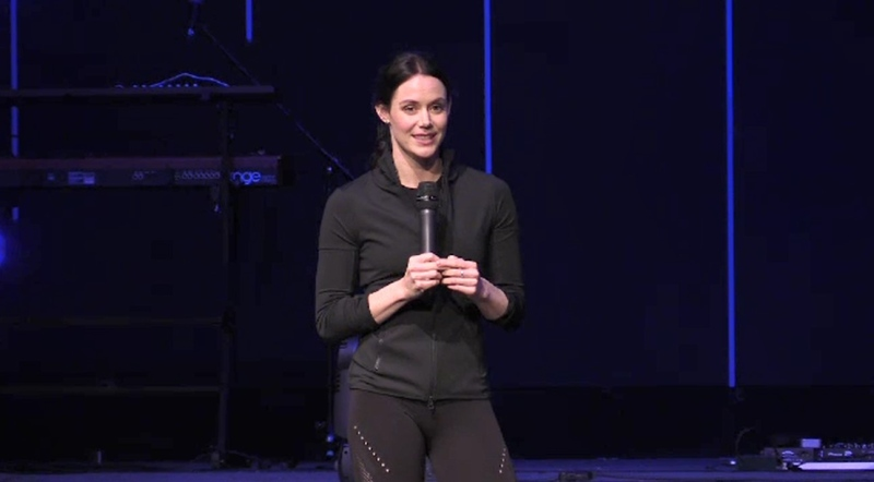 Decorated ice dancer Tessa Virtue speaks at the GROWgirls event in Woodstock, Ont. on Thursday, Nov. 28, 2019. (Gerry Dewan / CTV London)