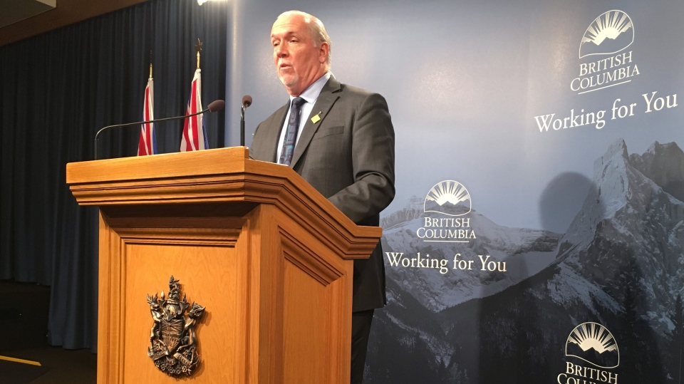 B.C. Premier John Horgan addresses a news conference at the B.C. legislature in Victoria, Thursday, Nov.28, 2019, where he discussed the most recent session of the legislature. Horgan says ride hailing is on it's way to B.C., but he wouldn't guarantee a Christmas arrival. (THE CANADIAN PRESS/Dirk Meissner)
